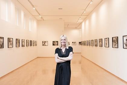 Edith Held in her exhibition