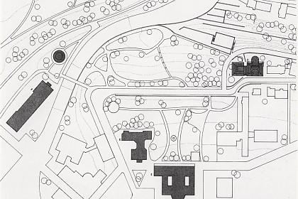 Geländeplan des Weinbergs (oben rechts befindet sich das Museum für Sepulkralkultur)