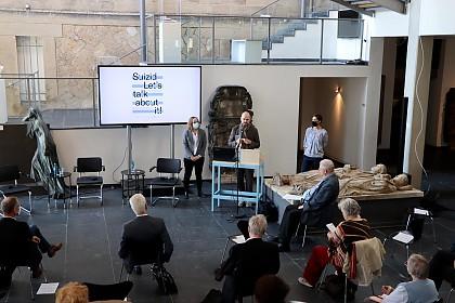 Begrüßung durch Museumsdirektor Dr. Dirk Pörschmann, Dr. Silke Lauterbach (APPH) und Museumsmitarbeiterin Tatjana Ahle